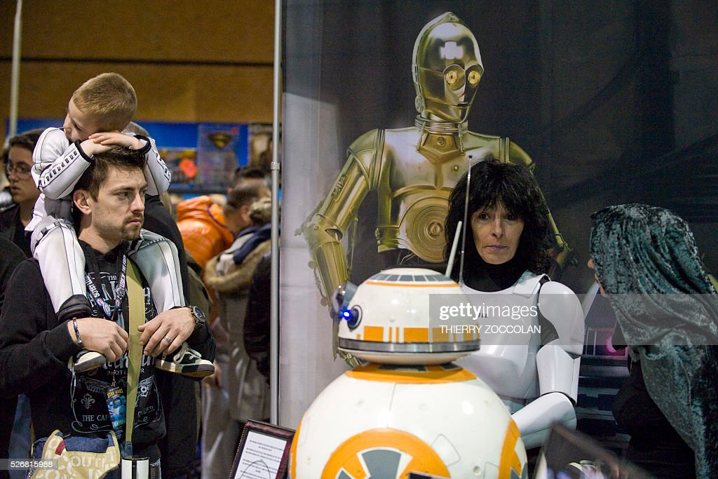 People take part in a Star Wars convention in Cusset, on May 1, 2016. / AFP / Thierry Zoccolan
