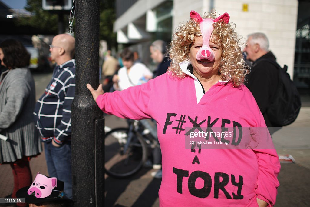 People take part in an antiausterity protest during the first day of the Conservative Party Autumn Conference 2015 on October 4 2015 in Manchester...