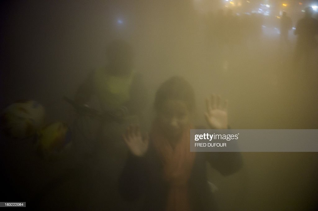 People take part in an art installation by Japanese artist Fujiko Nakaya 'Fog Square', on October 5, 2013, at the Place de la Republique, in Paris, during Paris' Nuit Blanche (White Night) event.