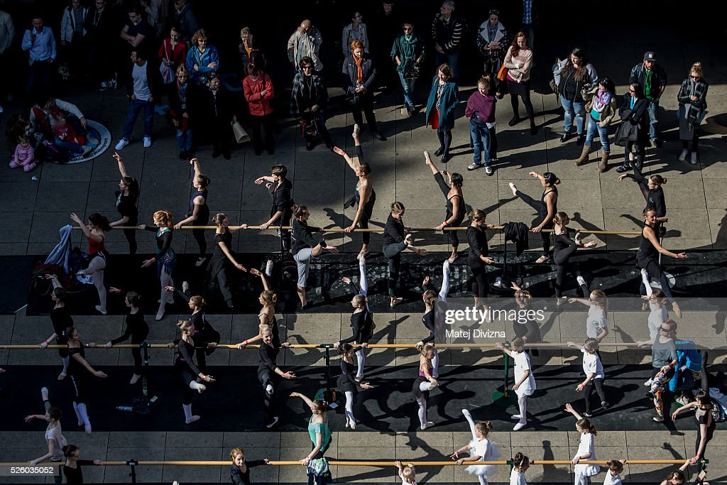 People take part in an outdoor ballet class at the International Dance Day in front of the National Theatre on April 29, 2015 in Prague, Czech Republic. International Dance Day, which was introduced in 1982, is celebrated around the world on April 29.