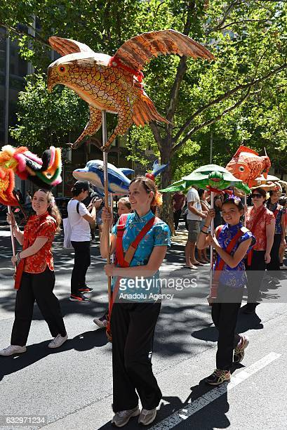 People take part in celebrations for the Chinese New Year on January 28 2017 in Melbourne Australia Chinese people celebrating the Lunar New Year...