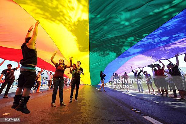 People take part in the 2nd Gay Parade Against Homophobia in Brasilia in support of gays lesbians and transgender persons in Brasilia on May 18 2011...