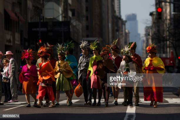 People take part in the Annual Easter parade on April 16 2017 in New York City The Easter Parade and Easter Bonnet Festival is characterized by...