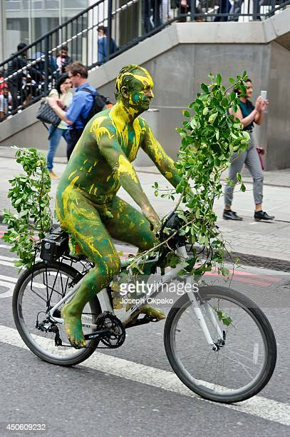 Image contains nudity People take part in the annual 'London World Naked Bike Ride' event in central London on June 14 2014 in London England