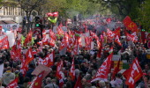 People take part in the antiausterity demonstration is Paris the French capital on April 12 2014 The demonstration march starting from Place de la...