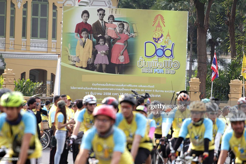 People take part in the 'Bike for Dad' event in Bangkok. Thai Crown Prince Maha Vajiralongkorn led thousands of cyclists on a 29-km course in Bangkok to celebrate King Bhumibol Adulyadej's 88th birthday.