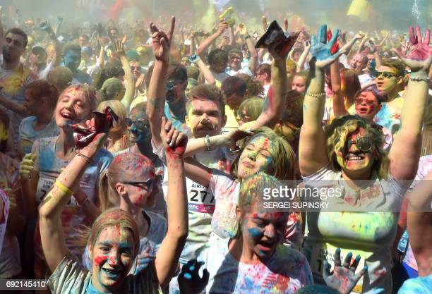 People take part in the Color Run in Ukrainian capital of Kiev on June 4 2017 From the first event in the United States in January 2012 The Color Run...