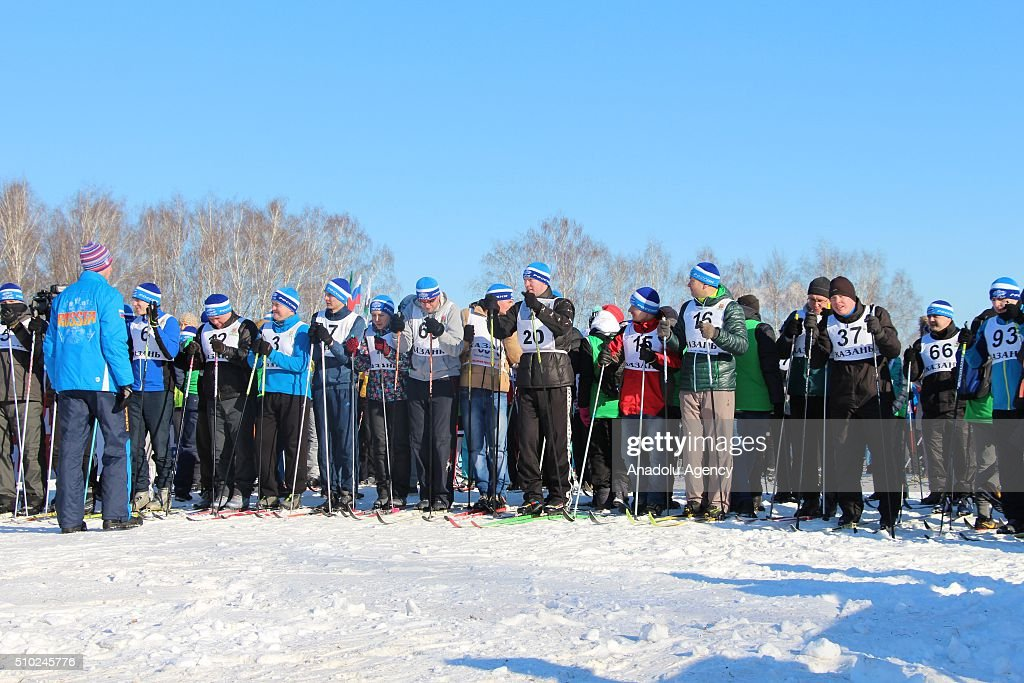 People take part in the nationwide 2016 Ski Track of Russia mass race in Kazan, Tatarstan on February 14, 2016.