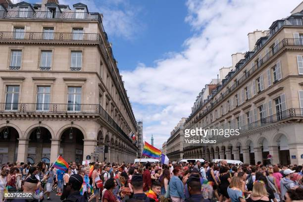 People take part in the Paris Gay Pride Parade or known as Marche des Fiertés LGBT in France on June 24 2017 in Paris France