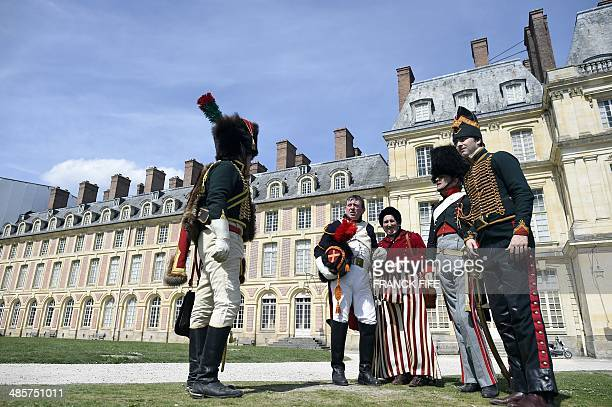 People take part in the reenactment of Napoleon's farewell to his guard on April 20 2014 in Fontainebleau On March 31 1814 Napoleon took refuge in...