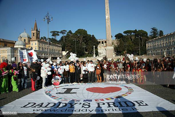 People take part in third Daddy's Pride march at Piazza del Popolo on March 22 2009 in Rome Italy The Daddy's Pride march is a worldwide event to...