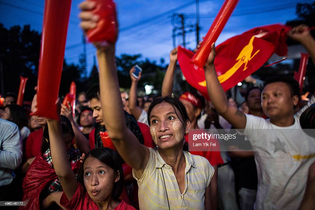 People take part of the rally outside the National League for Democracy office after Myanmar's first free and fair election on November 8 2015 in...