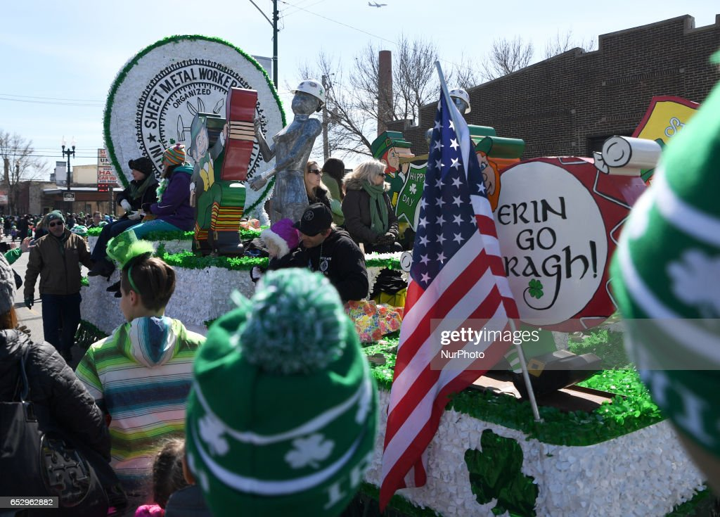 People take parts in St. Patrick's Day Parade on Sunday, Mar. 12, 2017 in Chicago, Illinois.