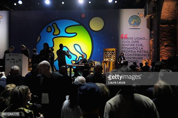 People take photo on the stage at the end of the meeting of the Leopolda 2015 on December 13 2015 in Florence Italy The Leopolda an annual public...