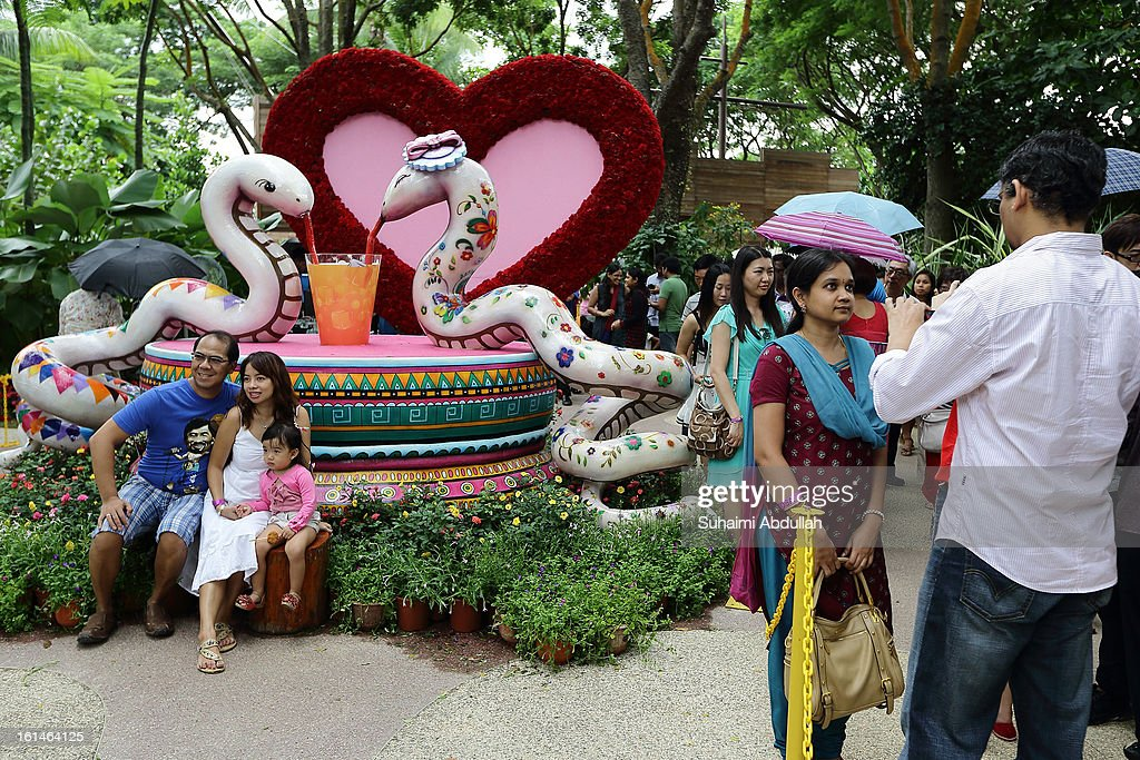 People take photographs of a snake sculpture display at the Sentosa Flowers exhibition at Palawan Beach on February 11, 2013 in Singapore. Millions of spring flowers decorate the island in celebration of the Chinese New Year, the year of the Snake.