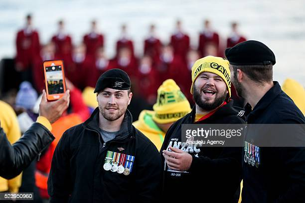 People take photos during ANZAC Dawn service in Canakkale Turkey on April 25 2016 Thousands of Australian and New Zealander people attend the dawn...