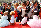 People take photos of dogs in wedding dress during a group wedding ceremony for dogs on October 18 2015 in Nanjing Jiangsu Province of China 15 dog...