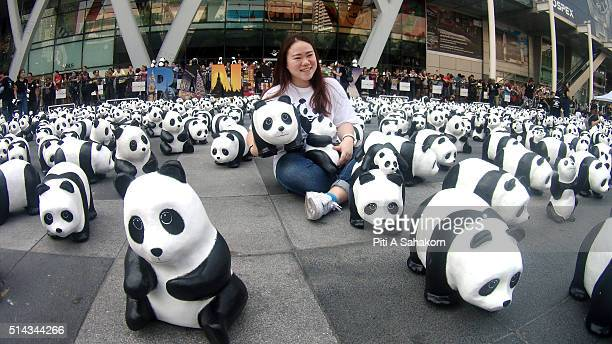 People take photos with papiermache pandas created by French artist Paulo Grangeon as they are displayed at Central World Shopping Center the 1600...