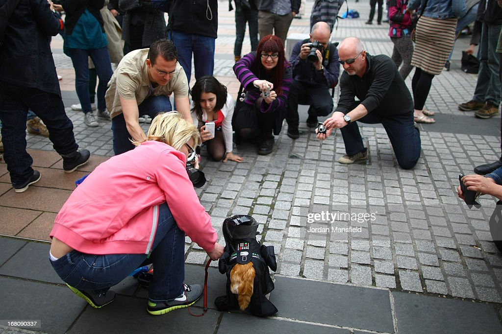 People take pictures of Harvey, a long-haired Chihuahua is dressed up as the character Darth Vader from the film Star Wars with owner Jayne Barley on May 5, 2013 in London, England. Enthusiasts gathered at the Picture House in Stratford to parade their dogs dressed up as famous Sci-Fi characters as part a London-wide event called Sci-Fi London.