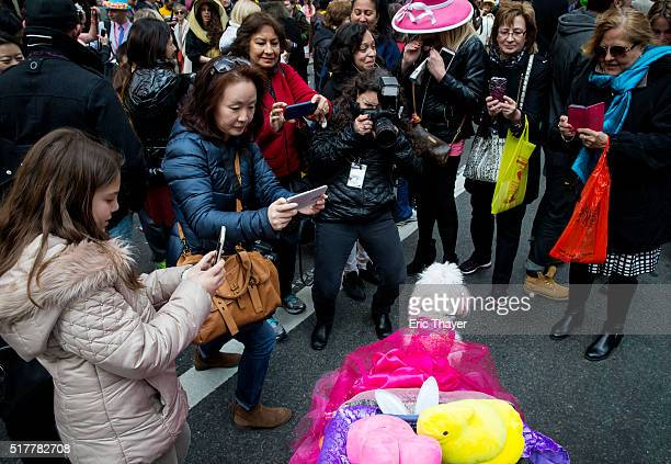 People take pictures of ZZ a dog during the Easter Parade and Bonnet Festival along 5th Avenue March 27 2016 in New York City The parade is a New...