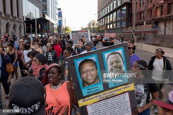 People take to the streets and protest in reaction to Cleveland police officer Michael Brelo being acquitted of manslaughter charges after he shot...