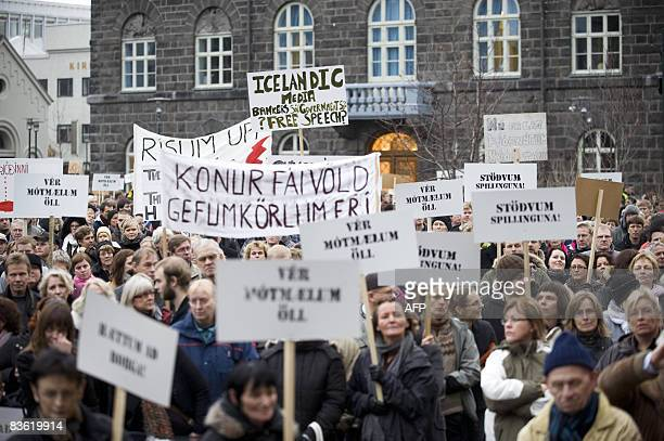 People take to the streets of Reykjavik Iceland on November 8 2008 to call on the government to resign and for banks to be more open about the...