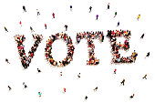 Large group of people walking to and forming the shape of the word text vote on a white background.