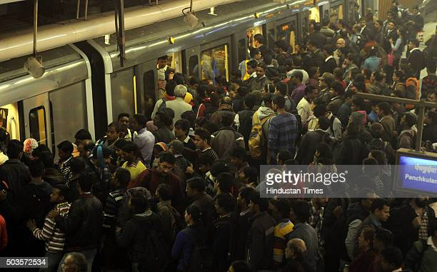 People throng Rajeev Chowk Metro Station in large numbers on the fifth day of the oddeven vehicular restriction trial on January 5 2016 in New Delhi...