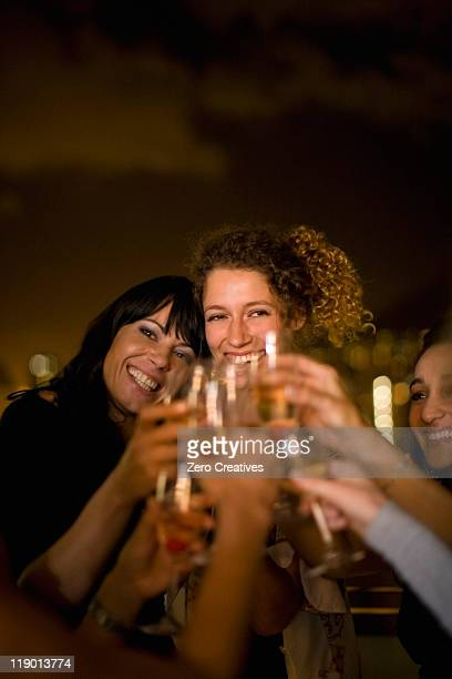 People toasting at party at night