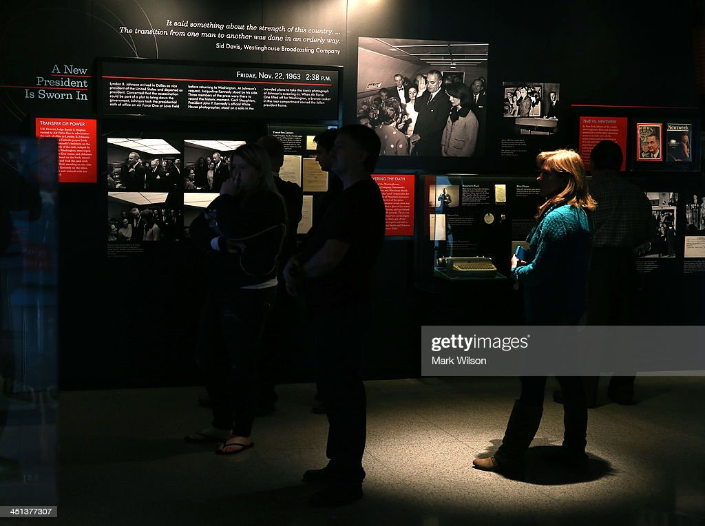 People tour an exhibit at the Newseum dedicated to John F. Kennedy who was killed fifty years ago today, on November 22, 2013, in Washington, DC. Today is the 50th anniversary of President Kennedy's assassination during his visit to Dallas, Texas, in 1963.