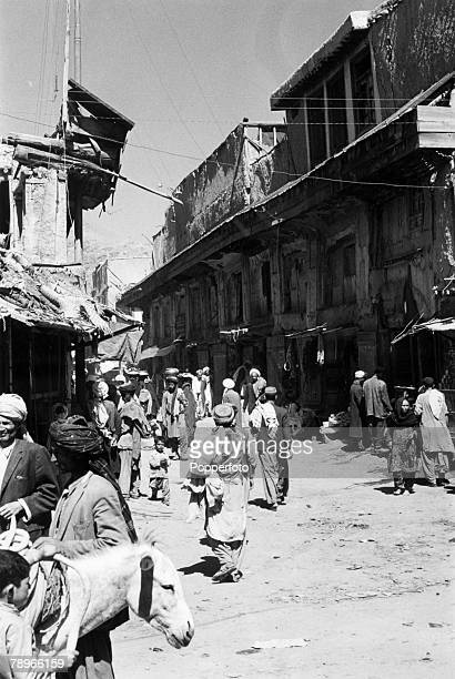 circa 1950 A general view of a Kabul street scene