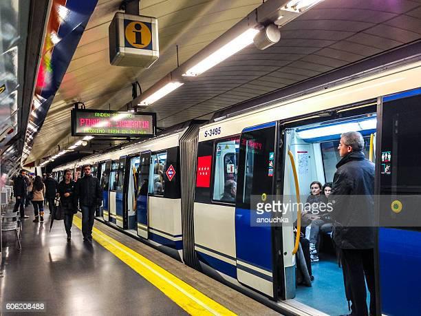 People traveling in Madrid metro, Spain
