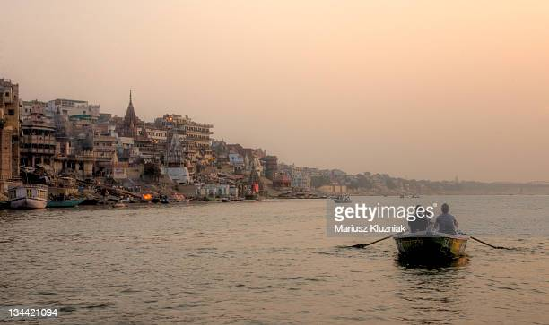 People travelling by boat on Ganges