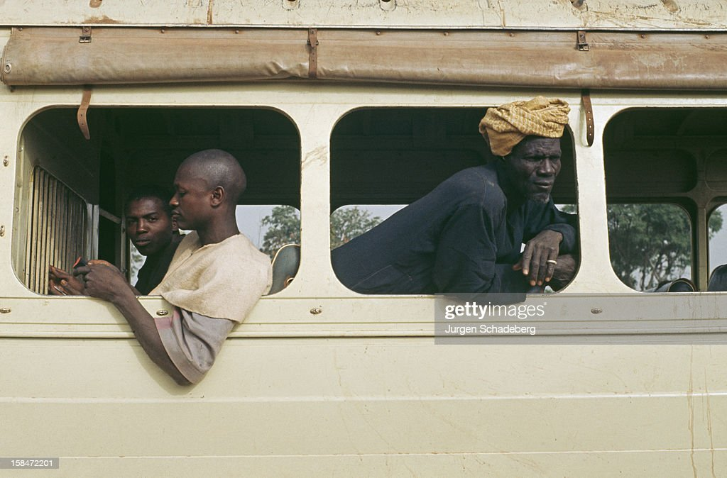 People travelling by bus in the Central African Republic, 1973.
