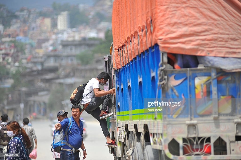 People travelling on a truck as national-wide local transportation strike by transport entrepreneurs at Kalanki, Kathmandu on May 26, 2016.