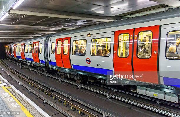 People travelling on London Underground train