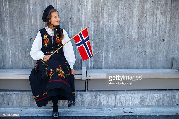 People travelling to central Oslo to celebrate Norwegian Constitution Day on May 17 2014 in Oslo Norway Norway's Constitution declaring the country...