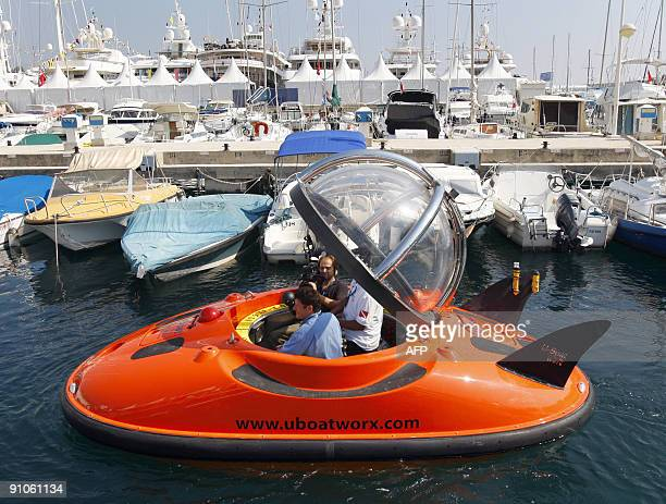 People try an U boat on September 23 2009 during the International Monaco Yacht Show exclusively devoted to Superyachts of at least 25 meters in...
