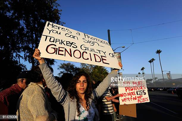 People upset over Armenia's warming diplomatic relations with Turkey protest in front of the Beverly Hilton hotel in response to the visit of...