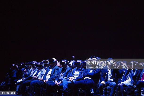 People use Samsung Gear VR during the presentation of the new Samsung Galaxy S7 and Samsung Galaxy S7 edge on February 21 2016 in Barcelona Spain The...