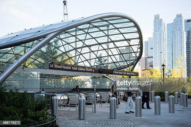 People use the entrance to a new subway station on September 14 2015 in New York City Known as '34th Street Hudson Yards' it is accessed by the 7...