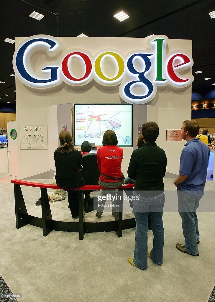 People use the Google SketchUp program to make an image of a spacecraft at the company's booth at the fifth annual official Star Trek convention at the Las Vegas Hilton August 18, 2006 in Las Vegas, Nevada. Google launched a website to coincide with this year's convention (http://www.google.com/trekfan) that allows Google users from everywhere to overlay Star Trek and other science fiction images on Google Earth.