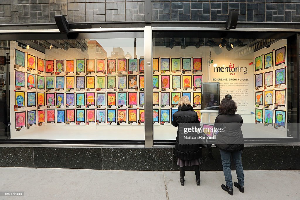 People view children's artwork at the unveiling of the Bloomingdale's Mentoring USA window displaying children's artwork at Bloomingdale's 59th St. and Mentoring USA's celebration of National Mentoring Month on January 9, 2013 in New York City.