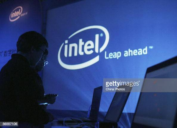 People view computer entertainment during a ceremony to launch Intel's new computer platforms on January 9 2006 in Beijing China Intel which just...