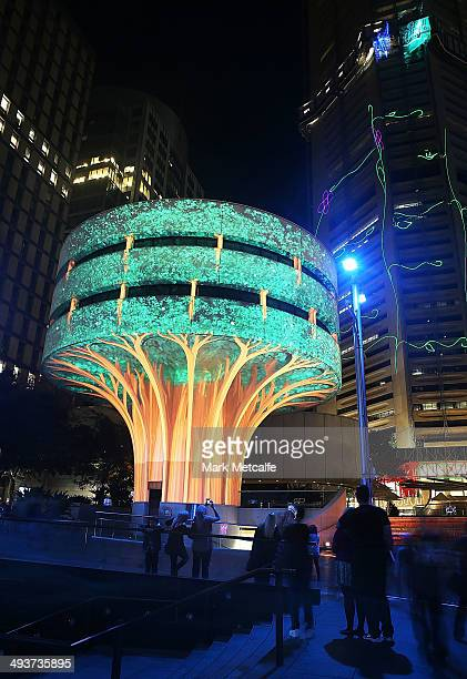 People view illuminated installation art as part of VIVID Live at Martin Place on May 25 2014 in Sydney Australia VIVID Sydney is an annual event...