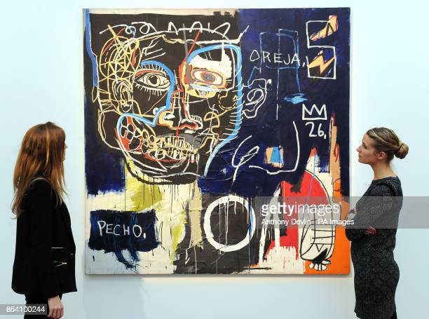 People view Jean Michel's Basquiat's Untitled as Sothebys previews its forthcoming February sales of Impressionist Modern Art and Contemporary Art at...