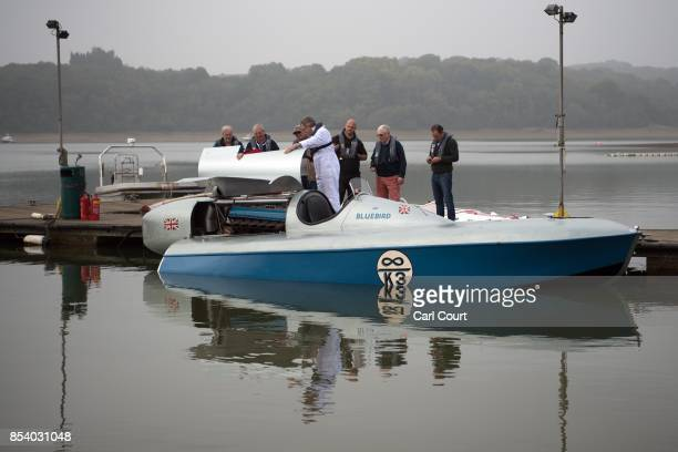 People view the restored Blue Bird K3 hydroplane powerboat ahead of a test run at Bewl Water on September 26 2017 near Maidstone England The Bluebird...