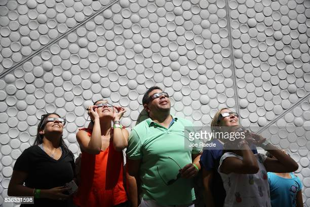 People view the solar eclipse at The Phillip and Patricia Frost Museum of Science on August 21 2017 in Miami Florida While Miami was not in the path...