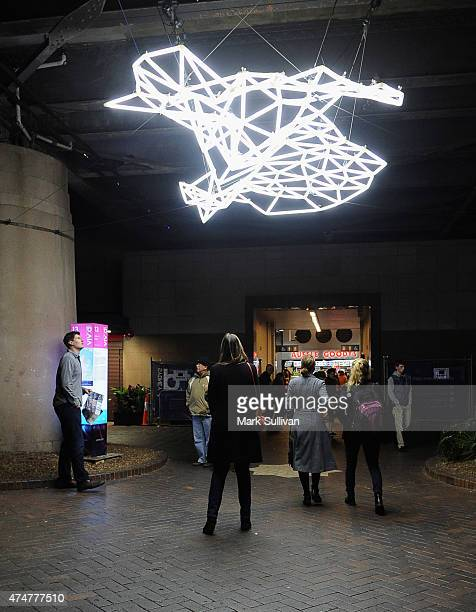People view Water's Edge during Vivid Sydney 2015 at Circular Quay on May 26 2015 in Sydney Australia