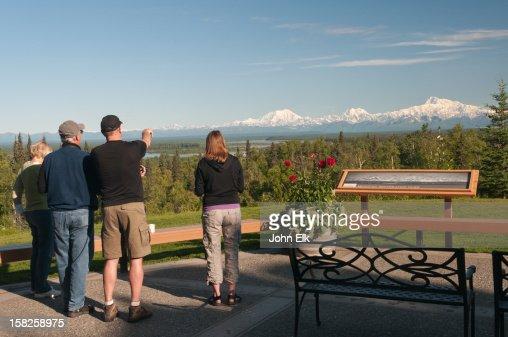 People viewing Alaska Range : Stock Photo